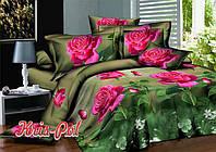 Комплект постельного белья евро шикарные розы 5д недорого