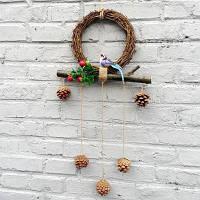 Настенный декор сельский стиль ротанг DIY рождественские украшения Цветной