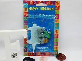 Свеча цифра на торт 1 Тедди голубая
