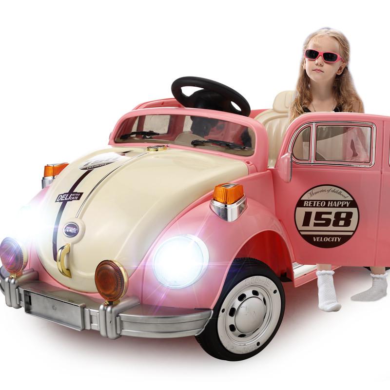 Детский Электромобиль YJ158 Жук розовый на радиоуправлении