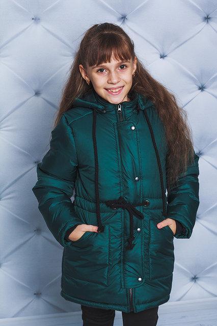 """Тепла зимова куртка для дівчинки """"Буся"""" пляшкова"""