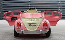 Детский Электромобиль YJ158 Жук розовый на радиоуправлении, фото 2