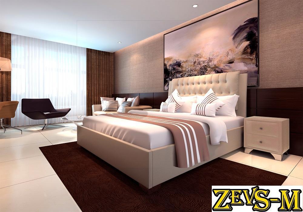 Ліжко двоспальне з мякою спинкою спальню Zevs-M Каролина 140*190