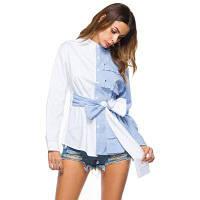 Асимметричный воротник BowShort Длинная длинная рубашка Пограничная наружная торговля внешней торговли женщинами XL