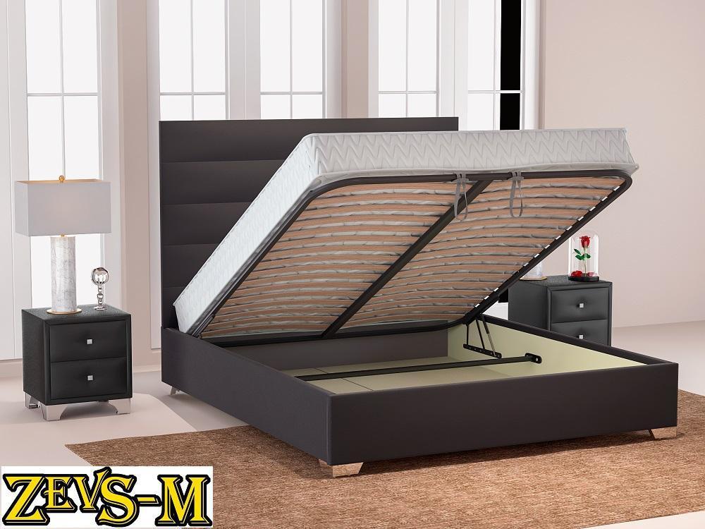 Кровать с подъемным механизмом с мягкой спинкой Zevs-M Титан 140*190