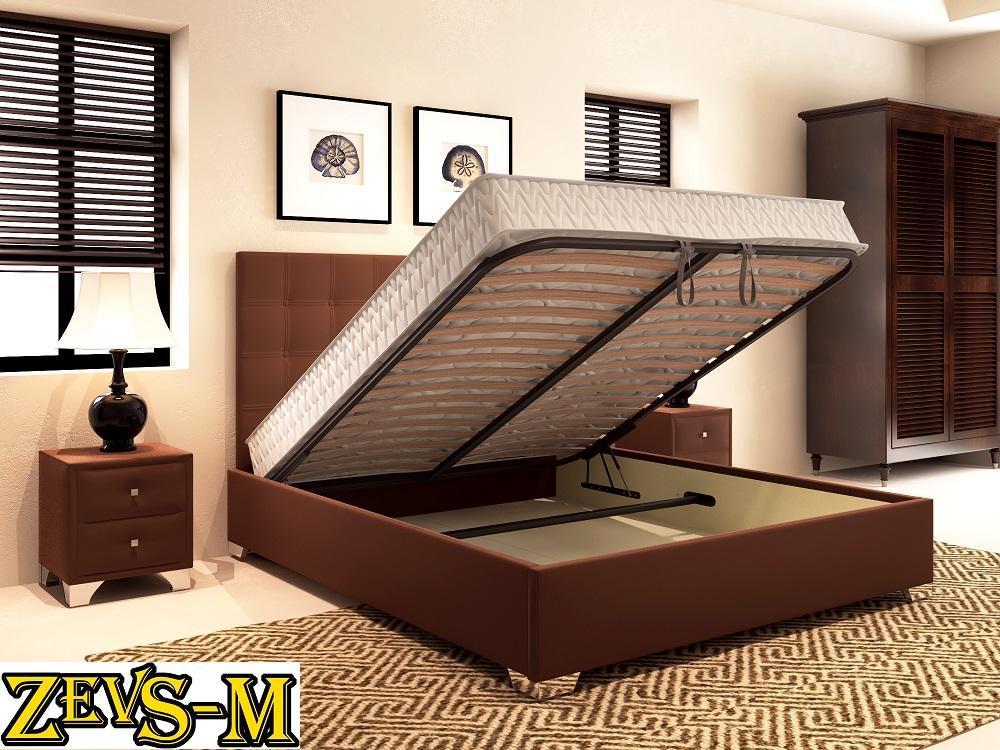Кровать с подъемным механизмом с мягкой спинкой Zevs-M Турин 140*190