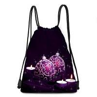 Новогодние шары и свечи печати drawstring рюкзак Фиолетовый