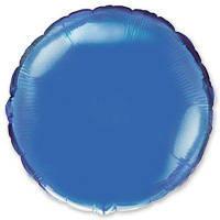 """Фольгированные шары без рисунка  18"""" Круг металлик голубой (FlexMetal)"""