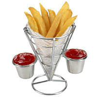 Держатель для картофеля фри с двойной соусницей в виде конуса для попкорна овощей фруктов и других закусок Серебристый