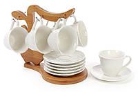 Кофейный набор на 6 персон, 6 чашек и 6 блюдец, на бамбуковой подставке