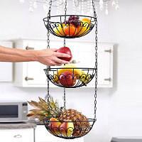 3-ярусная подвесная корзина для фруктов овощей Чёрный