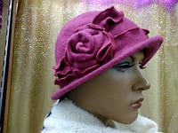 Шляпы RABIONEK из  шерсти с цветком, вищневый цвет, фото 1