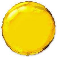 """Фольгированные шары без рисунка  18"""" Круг металлик золотой (FlexMetal)"""