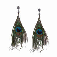 Модные этнические формы с перьями с длинными каплями с бриллиантами Зелёный