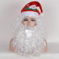 Короткие лохматый кудрявый Санта-Клаус Cosplay синтетический парик с бородкой и крышкой Белый