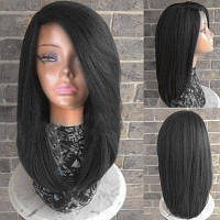 Длинный боковое разделение Прямой термостойкий синтетический парик Чёрный