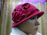 Шляпы RABIONEK из  шерсти с цветком, темновишневый цвет, фото 1