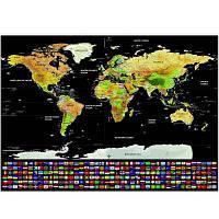 Скремблирующая карта мира с флагами США и стран Цветной
