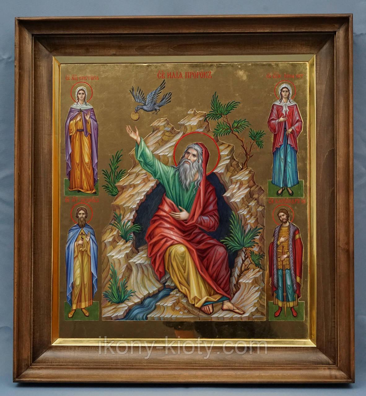 Киот ровный для иконы Святого Пророка Ильи, с деревянной рамой,с золочёным сусальным золотом скосом.