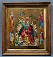 Киот ровный для иконы Святого Пророка Ильи, с деревянной рамой,частично позолоченной сусальным золотом.