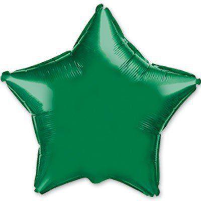 """Фольгированные шары без рисунка  18"""" Звезда металлик зеленая (FlexMetal)"""