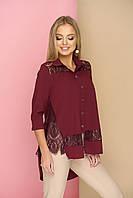 """Нарядная женская свободная блузка-рубашка с кружевом и длинной спинкой, рукав 3/4 """"Симпл"""" (бордо)"""