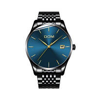 DOM m-11bk 4892 мужские часы деловые случайные водонепроницаемые со стальным ремешком Чёрный и синий