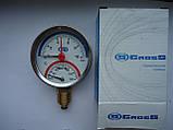 """Термоманометр вертикальный 1/4"""" с клапаном 1/2"""" (120 C) (10.0 Bar) Гросс Gross , фото 2"""