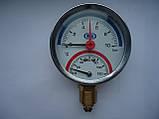 """Термоманометр вертикальный 1/4"""" с клапаном 1/2"""" (120 C) (10.0 Bar) Гросс Gross , фото 3"""