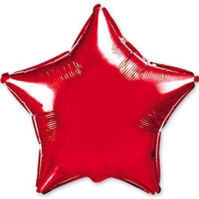 """Фольгированные шары без рисунка  18"""" Звезда металлик красная (FlexMetal)"""
