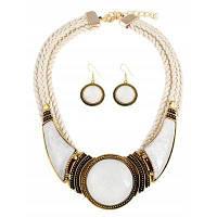 Ожерелье и серьги из искусственного драгоценного камня Белый