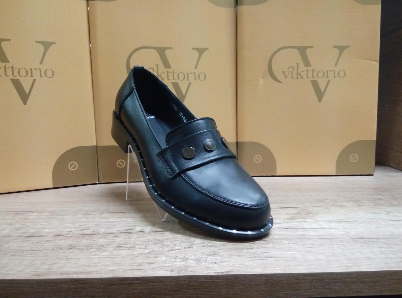 НОВИНКА!  Стильные женские туфли на низком ходу из натуральной кожи  VIKTTORIO