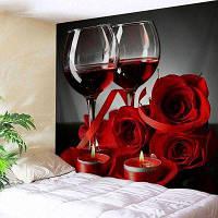 Настенный витраж День Святого Валентина Роза Печать Гобелен ширина59дюймов*длина51дюйм