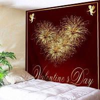 Настенный витраж День Святого Валентина Сердце Печать Гобелен ширина59дюймов*длина51дюйм