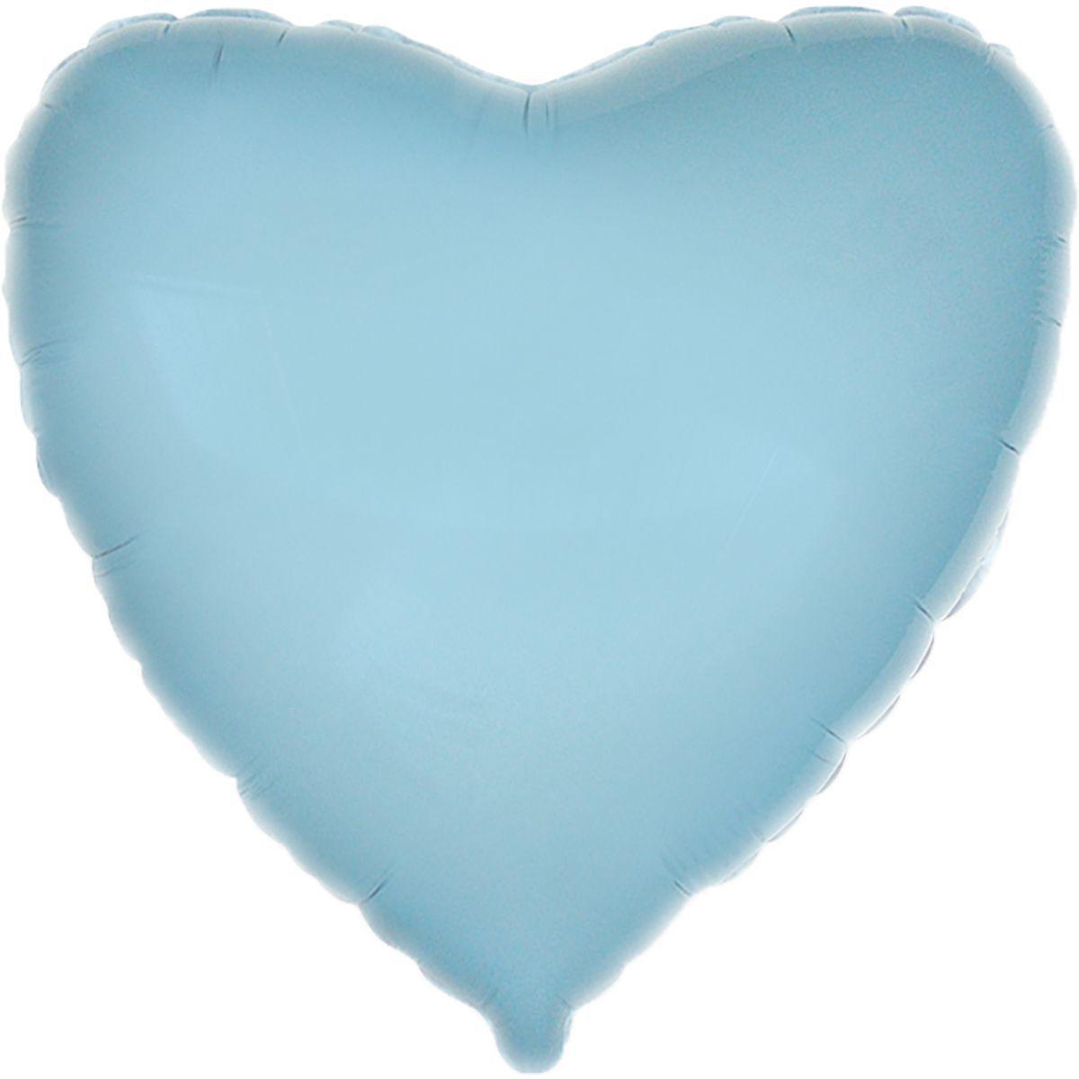 """Фольгированные шары без рисунка  18"""" Сердце пастель голубое (FlexMetal)"""