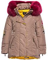 Парка-Пальто бежевая с розовым воротником Monalisa