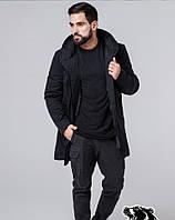Мужское демисезонное пальто Braggart чёрное с принтом