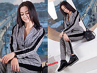 Костюм модный в клетку пиджак и брюки полированный джерси Dm775