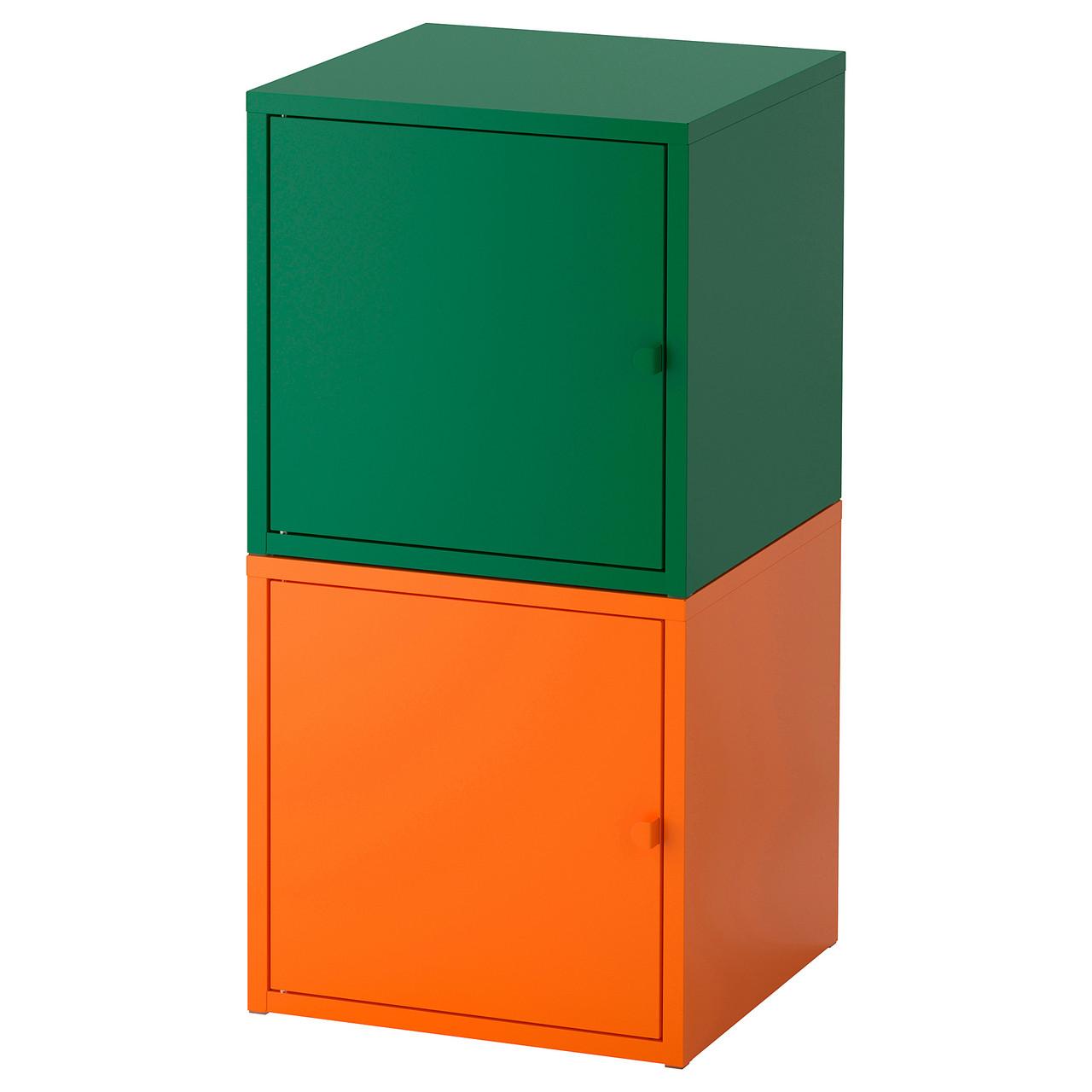 """ИКЕА """"ЛИКСГУЛЬТ"""" Комбинация д/хранения, темно-зеленый, оранжевый"""