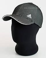 Бейсболка спортивная с логотипом Adidas черная с белым, лакоста шестиклинка меланж