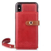 Стильная 2 в 1 Отдельная кожаная обложка с функцией кошелька для iPhone X Красный