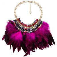Новый продукт Alloy Multi-layer Woven Feather Collar Necklace Фиолетовый
