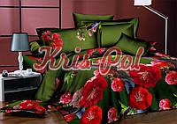 Комплект постельного белья евро красные цветы 5д недорого