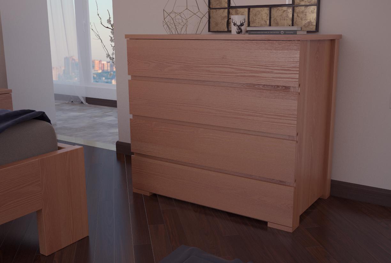 Комод з натурального дерева в спальню/вітальню ХМФ К-3