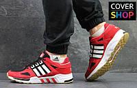 Кроссовки беговые мужские Adidas Equipment, материал - замша+сетка, красные с белым