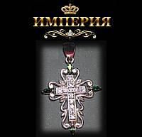 Крест женский ажурный серебряный с камнями