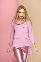 """Оригинальная женская свободная блузка-рубашка с карманами на груди, длиннее сзади """"Мишель"""" (сирень)"""