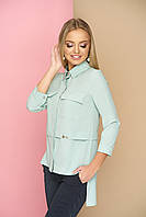 """Оригинальная женская свободная блузка-рубашка с карманами на груди, длиннее сзади """"Мишель"""" (фисташка)"""