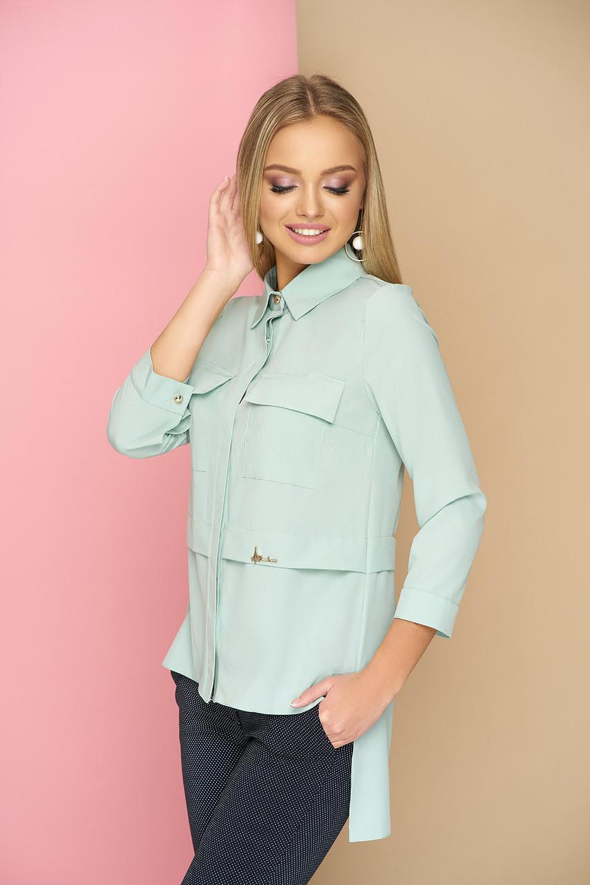 a5d123b94fe Оригинальная женская свободная блузка-рубашка с карманами на груди ...