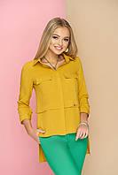 """Оригинальная женская свободная блузка-рубашка с карманами на груди, длиннее сзади """"Мишель"""" (горчица)"""